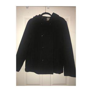 Black Pea Coat with Hoodie